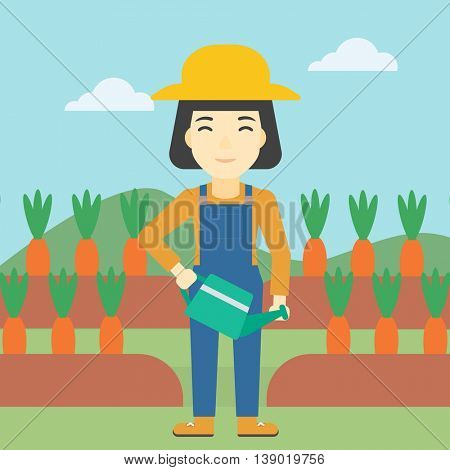 An asian female farmer holding a watering can. Farmer watering carrots. Female farmer standing on the background of carrots growing on field. Vector flat design illustration. Square layout.