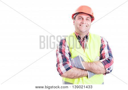 Confident Cheerful Builder Posing With Folded Arms