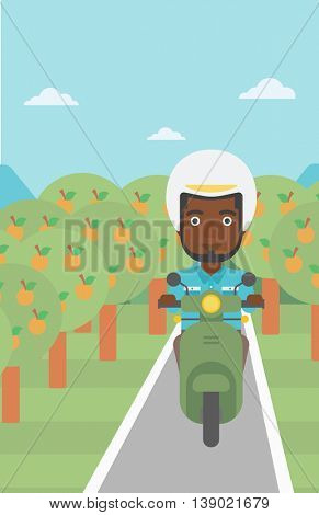 An african-american young man riding a scooter on the asphalt road through the orchard. Young man in helmet driving a scooter. Vector flat design illustration. Vertical layout..