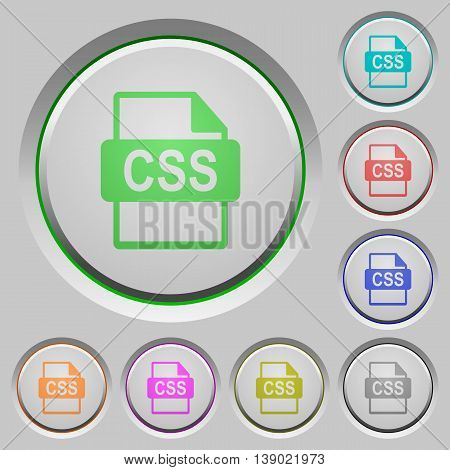 Set of color CSS file format sunk push buttons.