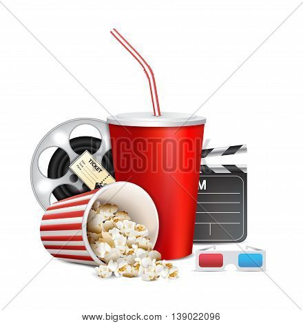 Popcorn box; disposable cup for beverages with straw film strip clapper board and ticket. Cinema Poster Design Template.