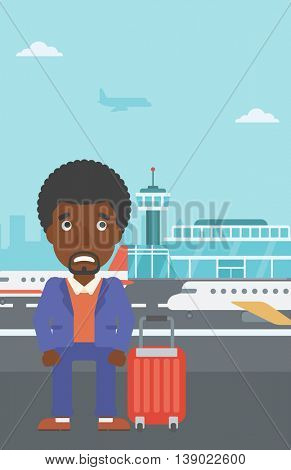 An african-american man frightened by future flight. Young man suffering from fear of flying. Phobia, fear of flying concept. Vector flat design illustration. Vertical layout.