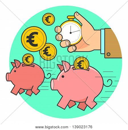 Vector illustration of style flat linear design: fast money, running a pig piggy bank with coins hand with a stopwatch measures the time.