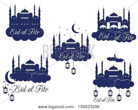 Ramadan Kareem, Mosque, Minaret, Lantern And Moon. Eid Al Fitr Muslim Traditional Holiday. Eid Mubar
