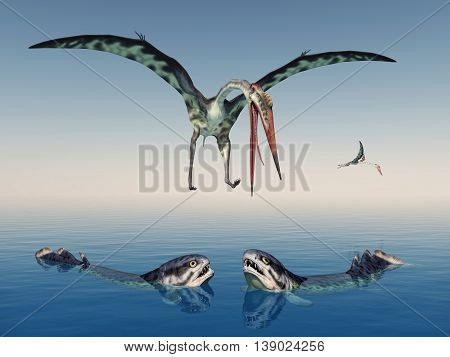 Computer generated 3D illustration with the extinct pterosaur Quetzalcoatlus and the extinct fish Rhizodus