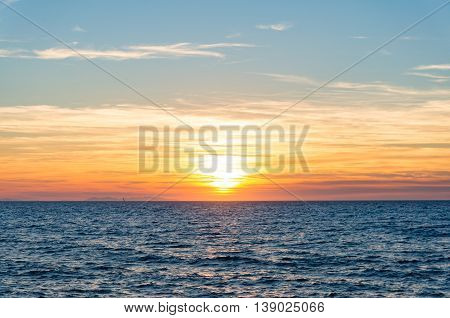 Abstract Nature Background Of Sunset Sky And Sea
