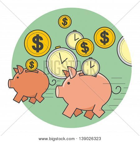 Vector illustration of style flat linear design: fast money, running a pig piggy bank with coins and time