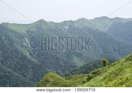 Central ridge of Stara Planina and hut Goat Wall Bulgaria Europe
