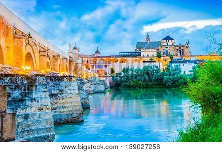 Mosque of Cordoba. Visigoths Cathedral building. Muslim catholic cathedral. Famous medieval landmark of Andalusia- Cordoba in Spain