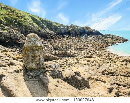 Rocky coast of Brittany. Rotheneuf, Brittany, France