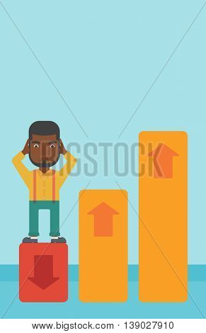 An african-american bankrupt clutching his head. Bankrupt standing on chart going down. Concept of business bankruptcy. Vector flat design illustration. Vertical layout.
