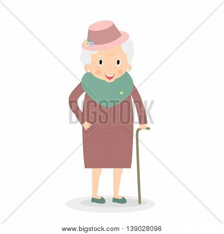 Cute Old woman with walking stick. Grandmother in hat. Senior lady on walk. Vector illustration