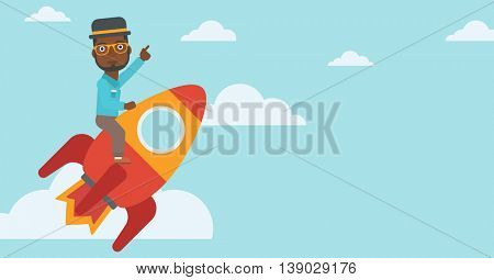 An african-american businessman flying on the business start up rocket and pointing his forefinger up. Successful business start up concept. Vector flat design illustration. Horizontal layout.