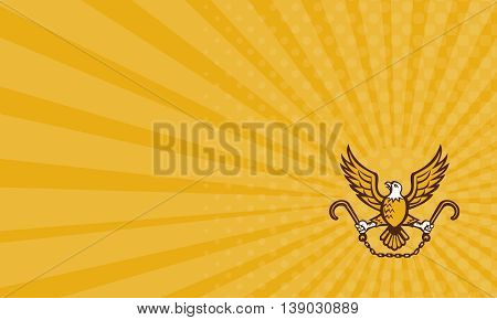Business card showing illustration of an american bald eagle clutching towing j hook with its talon viewed from front on isolated background done in retro style. poster