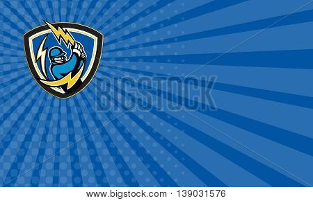 Business card showing illustration of a cricket player batsman with lightning bat batting viewed from front set inside shield crest on isolated background done in retro style.