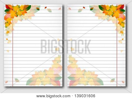 School notebook facing pages with yellow autumn leaves on page of copybook in line. Back to school. Vector illustration