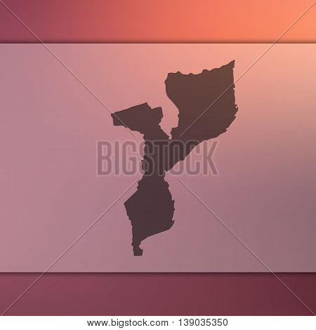 Mozambique map on blurred background. Blurred background with silhouette of Mozambique. Mozambique. Mozambique map.