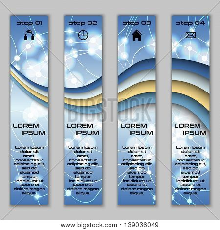 Vector Design Vertical Banner Set With Abstract Glowing Elements