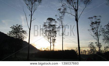Beautiful Sunrise at Ranca Upas West Java indonesia