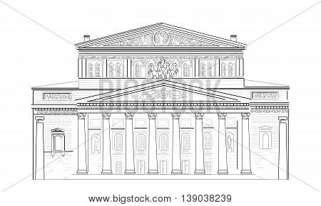 Facade with columns of the Bolshoi Theater in Moscow, Russia