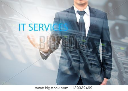 Double Expoure Of Businessman With Servers Technology In Datacenter In It Services Concept