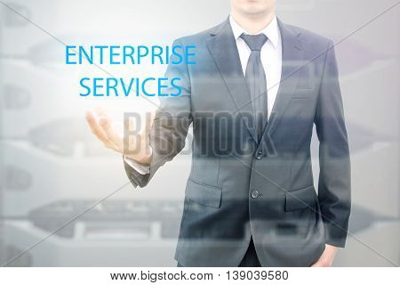 Double Expoure Of Businessman With Servers Technology In Datacenter In It Enterprise Services Concep