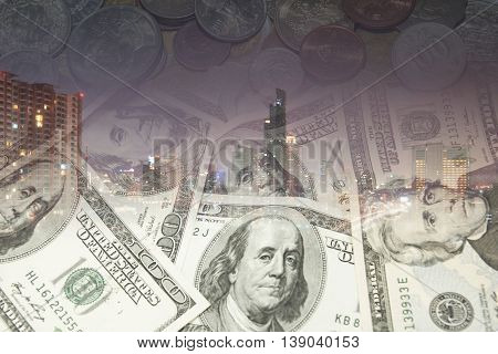Double Exposure Of City And Dollar Notes And International Coins For Finance And Banking Concept