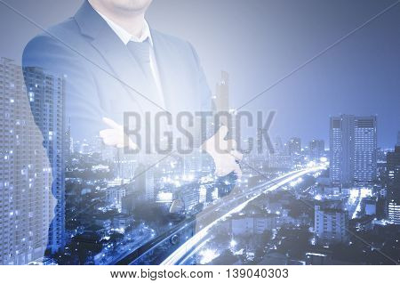 Double Exposure Professional Businessman And City Center Of Business, Business Concept.
