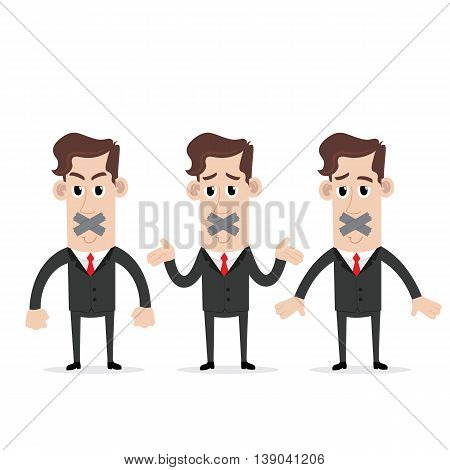 Clipart picture of a businessman cartoon character silenced with duct tape over his mouth