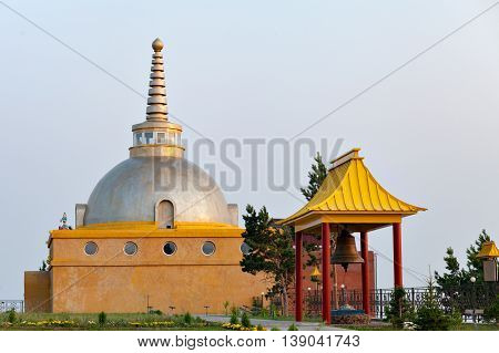 Attractions on site for a Buddhist temple. Datsan Rinpoche Bagsha on Bald Mountain in Ulan-Ude, Buryatia, Russia.