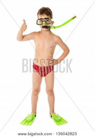 Boy in diving mask with thumb up sign, isolated on white