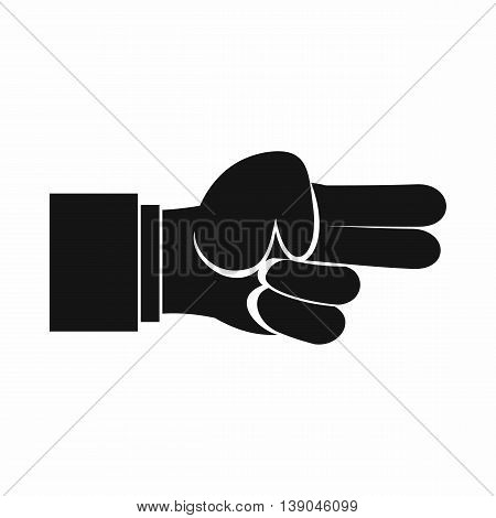 Hand showing two fingers icon in simple style isolated vector illustration
