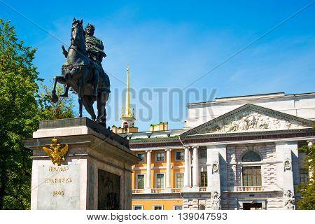 Peter The Great Monument Near Mikhailovsky Castle, St Petersburg , Russia.