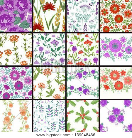 Seamless decorative patterns with various flowers set