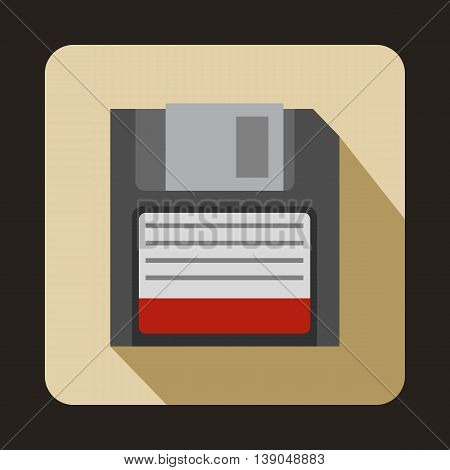 Magnetic diskette icon in flat style on a beige background