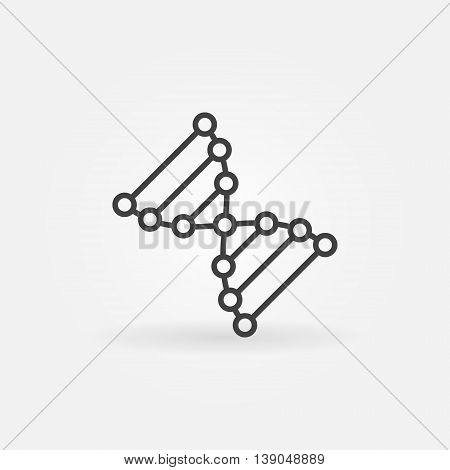 DNA icon or symbol. Vector thin line biochemistry concept sign or logo element