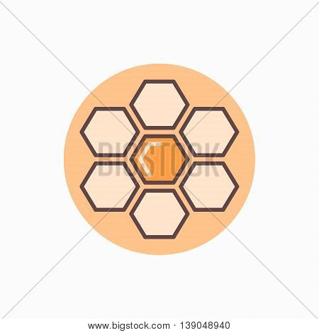 Honeycomb flat icon. Vector colorful honey and honeycomb symbol or logo element