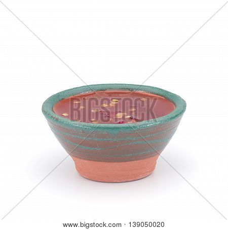 Thai Sauce In A Clay Sauce-boat Isolated On White Background