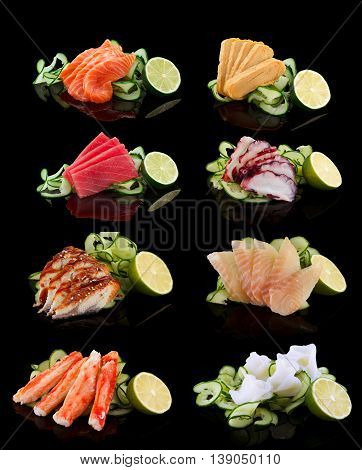 Sashimi Set (salmon, Tamago, Tuna, Octopus, Eel, Perch, Shrimp) Over Black Background