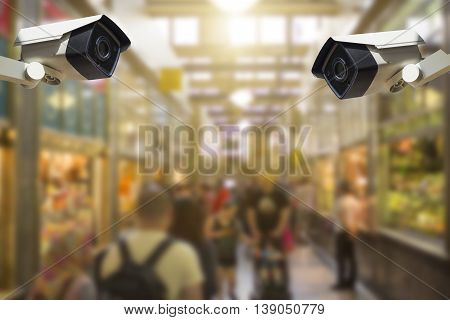 CCTV Security Camera CCTV Security Camera on shopping mall background poster