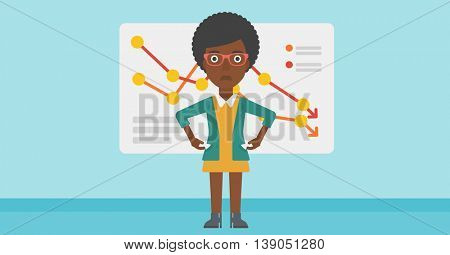 An african-american business woman showing her epmty pockets on the background of a board with decreasing chart. Bankruptcy concept. Vector flat design illustration. Horizontal layout.