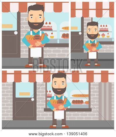 Hipster baker with beard holding basket with bakery products. Baker standing in front of bakery. Baker with bowl full of bread. Vector flat design illustration. Square, horizontal, vertical layouts.