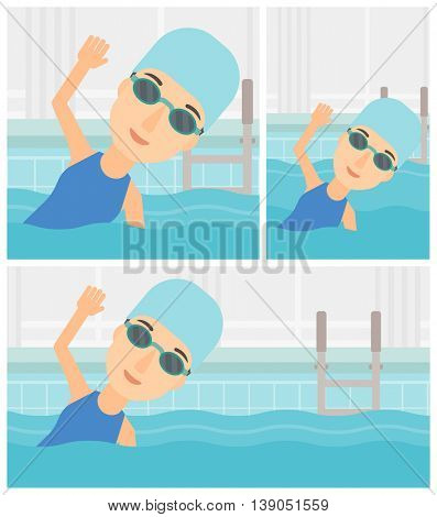 Young sportswoman wearing cap and glasses swimming in pool. Professional female swimmer in swimming pool. Vector flat design illustration. Square, horizontal, vertical layouts.