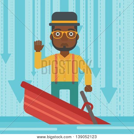 An african-american scared businessman standing in a sinking boat and asking for help. Concept of business bankruptcy. Vector flat design illustration. Square layout.
