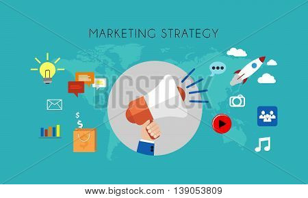 Web marketing - A Marketing strategy flat concept