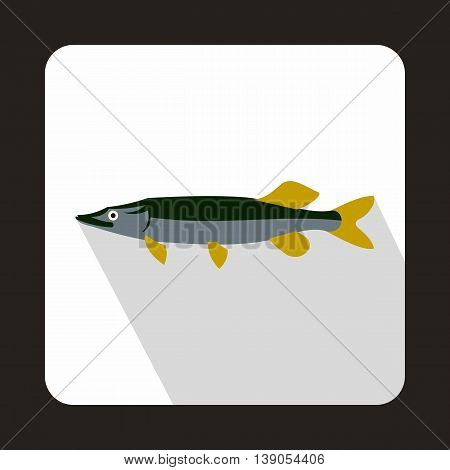 Saury icon in flat style on a white background