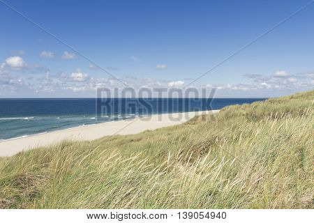 Beach and Sand Dune. Beach and sand dune covered with Marram Grass, Germany, Sylt, List. Juli 2016