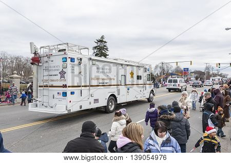 Taunton Massachusetts USA - December 5 2010: Bristol County Sheriff's Office mobile command post in Taunton Christmas Parade