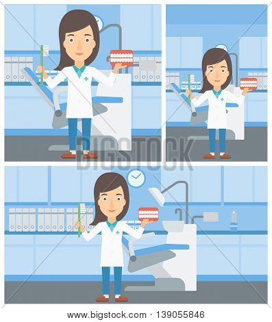 Young female dentist holding dental jaw model and a toothbrush in doctor office. Vector flat design Illustration. Square, horizontal, vertical layouts.