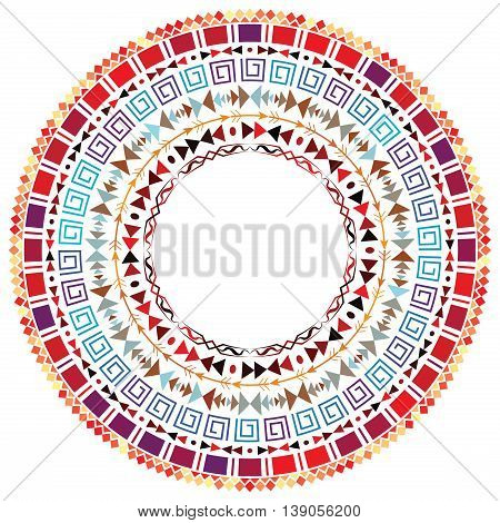 Card template with Aztec ornament. Decorative round ethnic ornament. Bohemian style. Ornate medallion ethnic pattern. Copy space. Vector illustration.